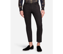 Hose aus Baumwolle mit Smoking-Details
