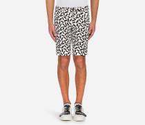 Bedruckte Bermuda-Shorts aus Baumwollstretch