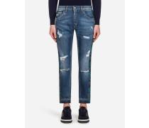 Stretch-Jeans Capri Fit mit Seitlichen Streifen aus Brokat