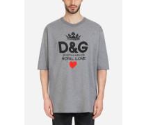T-Shirt aus Baumwolle mit D&g-Print