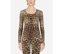 Charmeuse-Top Leoparden-Print