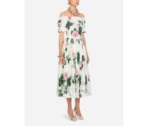 Longuette-Kleid AUS Popeline MIT Tropischem Rosendruck
