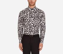 Hemd in Gold Fit <br>BEDRUCKTE Baumwolle
