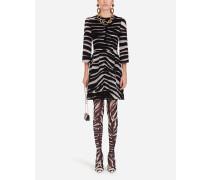 Kurzes Kleid AUS Organza MIT Zebra-Flockprint