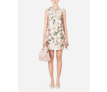 Kurzes Shantung-Kleid mit Lilien-Print