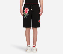 Joggingbermuda-Shorts aus Baumwolle mit Patches