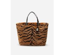 Shoppertasche Beatrice aus Webpelz mit Tigermuster