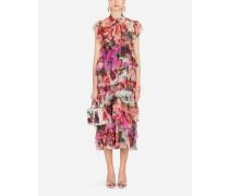Kleid aus Seide mit Pfingstrosenprint