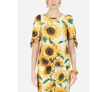 Popeline-Top Sonnenblumen-Print