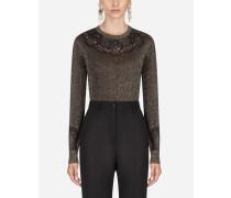 Pullover aus Lurex mit Intarsien aus Spitze