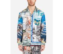 Pyjamaoberteil aus Bedruckter Seide