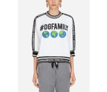 Bedrucktes Sweatshirt aus Baumwolle mit #dgfamily und Patch