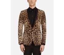 Smokingjacke aus Seide mit Leoparden-Print