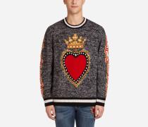 Pullover aus Kaschmir mit Eingestricktem Herz