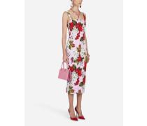 Ärmelloses Longuette-Kleid AUS Cady Geranien-Print