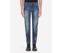 Skinny Stretch Jeans Wappen-Print