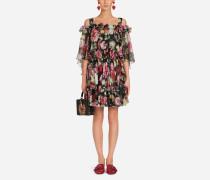 Kleid aus Bedrucktem Seidenchiffon