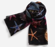 Bedruckter Schal aus Krepon 120 x 200