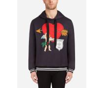 Sweatshirt aus Bedruckter Baumwolle mit Kapuze