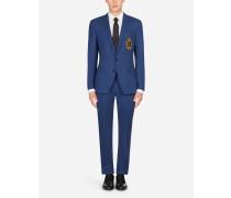 Martini Fit Anzug aus Woll-Stretch mit Patch