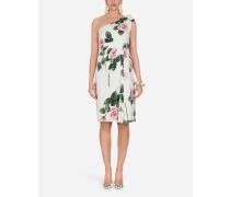 Einschultriges Longuette-Kleid MIT Tropischem Rosendruck