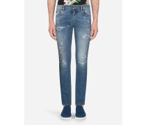 Skinny Stretch Jeans Hellblau mit Flicken