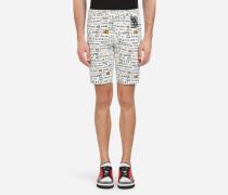Bermuda-Shorts aus Baumwolldrillich mit Graffiti-Print