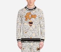 Sweatshirt mit Rundhalsausschnitt und Graffiti-Print