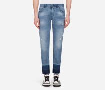 Klassische Jeans mit Patchwork