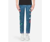 Skinny Stretch Jeans Anthurium-Print