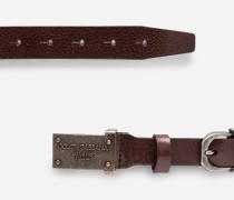 Gürtel aus Leder mit Logoschnalle