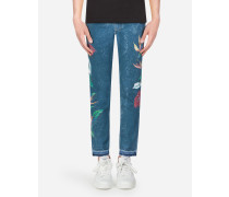 Skinny Stretch Jeans Anthurium-Print