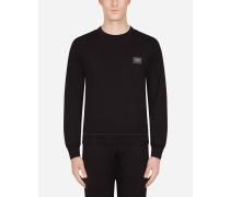 Sweatshirt AUS Baumwolle MIT Logo-Plakette