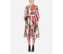 Kleid aus Chiffon mit Pfingstrosenprint