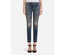 Jeans Pretty Fit aus Denim Stretch mit Patch-Etiketten