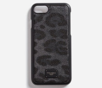 Iphone 7-Cover mit Detail aus Crespo-Leder in Leopardenmuster