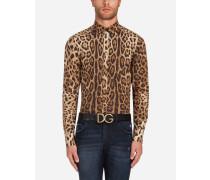 Capri Fit Hemd aus Baumwolle mit Leoparden-Print