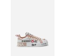 Sneakers Portofino AUS Bedrucketem Nappa-Kalbsleder MIT Perlenstickerei