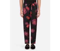 Pyjamahose aus Bedruckter Seide