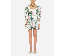 Kurzes Kleid AUS Taft MIT Tropischem Rosendruck