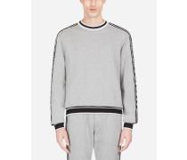 Sweatshirt aus Baumwolle mit Seitlichen Jacquard-Streifen