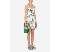 Kurzes Kleid AUS Popeline MIT Tropischem Rosendruck