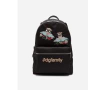 Rucksack Vulcano aus Nylon mit Designer-Patch