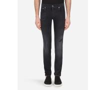 Skinny Stretch Jeans Grau mit Flicken