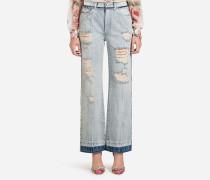 Jeans mit Hohem Bund aus Denim mit Patch Etikett