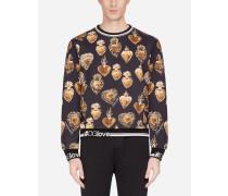 Sweatshirt aus Baumwolle mit Print DES Heiligen Herzens