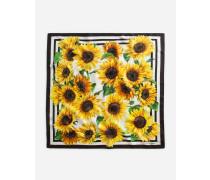 Halstuch 70 X 70 aus Twill Sonnenblumen-Print