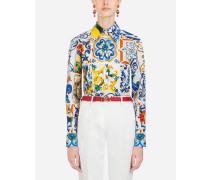 Baumwollhemd mit Majolika-Print