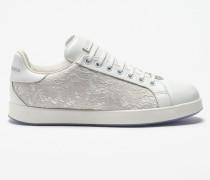 Sneaker Portofino aus Leder und Spitze