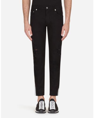 Stretch-Jeans Skinny Fit mit Seitlichen Streifen